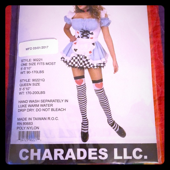 29768f0a8 charades Accessories - Charades striped thigh high queen of heart thighs
